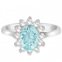 Lady Diana Oval Aquamarine & Diamond Ring 14k White Gold (1.50 ctw)