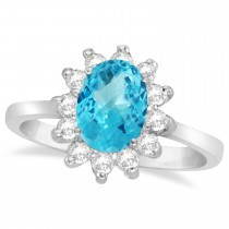 Lady Diana Oval Blue Topaz & Diamond Ring 14k White Gold (1.50 ctw)
