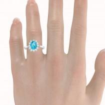 Lady Diana Oval Blue Topaz & Diamond Ring 14k White Gold (1.50 ctw)