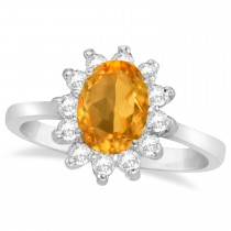 Lady Diana Oval Citrine & Diamond Ring 14k White Gold (1.50 ctw)