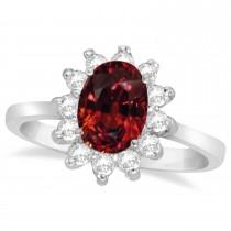 Lady Diana Oval Garnet & Diamond Ring 14k White Gold (1.50 ctw)