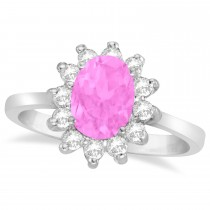Lady Diana Oval Pink Sapphire & Diamond Ring 14k White Gold (1.50 ctw)