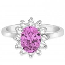 Lady Diana Oval Pink Sapphire & Diamond Ring 14k White Gold (1.50 ctw)