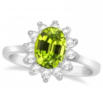 Lady Diana Oval Peridot & Diamond Ring 14k White Gold (1.50 ctw)