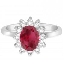 Lady Diana Oval Ruby & Diamond Ring 14k White Gold (1.50 ctw)