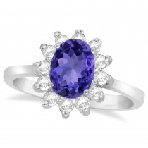 Lady Diana Oval Tanzanite & Diamond Ring 14k White Gold (1.50 ctw)