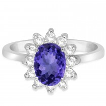 Lady Diana Oval Tanzanite & Diamond Ring 14k White Gold (1.50 ctw)