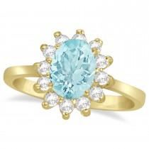 Lady Diana Oval Aquamarine & Diamond Ring 14k Yellow Gold (1.50 ctw)