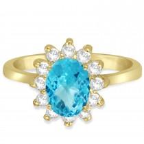 Lady Diana Oval Blue Topaz & Diamond Ring 14k Yellow Gold (1.50 ctw)