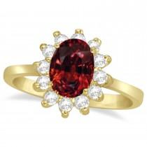 Lady Diana Oval Garnet & Diamond Ring 14k Yellow Gold (1.50 ctw)