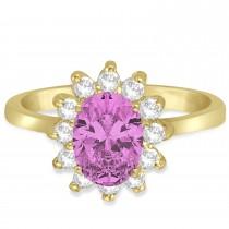 Lady Diana Oval Pink Sapphire & Diamond Ring 14k Yellow Gold (1.50 ctw)