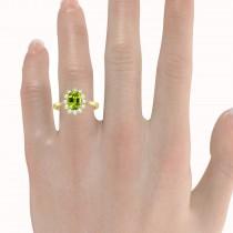 Lady Diana Oval Peridot & Diamond Ring 14k Yellow Gold (1.50 ctw)