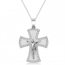 Holy Crucifix Men's Diamond Pendant Necklace 14k White Gold (0.69ct)