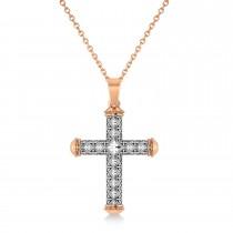 Designer Antique Cross Men's Pendant Necklace 14k Rose Gold