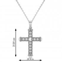 Designer Antique Cross Men's Pendant Necklace 14k White Gold
