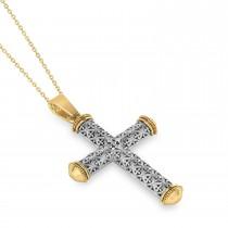Designer Antique Cross Men's Pendant Necklace 14k Yellow Gold