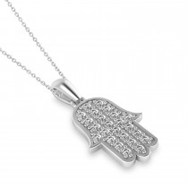 Diamond Hamsa Pendant Necklace 14k White Gold (1.44ct)