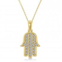 Diamond Hamsa Pendant Necklace 14k Yellow Gold (1.44ct)