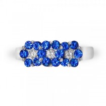 Floral Blue Sapphire and Diamond Ring in 14k White Gold with 1.21ctw