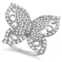 Contemporary Butterfly Shaped Diamond Ring 14k White Gold (1.00ct)