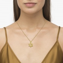 Classic Jewish Star of David Pendant Necklace Solid 14k Yellow Gold