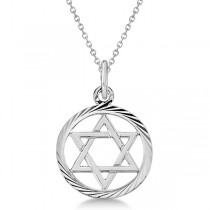 Star of David Pendant for Women Framed in Carved Circle 14k White Gold