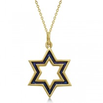 Ladies Star of David Pendant with Blue Enamel in 14K Yellow Gold