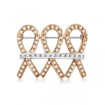 Me & My Two Friends Ribbon Brooch Pin in 14k Two Tone Gold (0.75ct)
