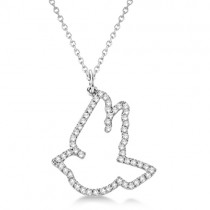 Diamond Dove Pendant Necklace 14k White Gold (0.25ct)
