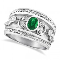 Oval Emerald & Diamond Byzantine Ring Sterling Silver (0.73ct)