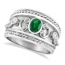 Oval Shaped Emerald & Diamond Byzantine Ring 14k White Gold (0.73ct)