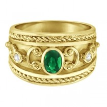 Oval Shaped Emerald & Diamond Byzantine Ring 14k Yellow Gold (0.73ct)|escape