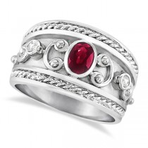 Oval Shaped Ruby & Diamond Byzantine Ring 14k White Gold (0.73ct)