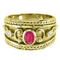 Oval Shaped Ruby & Diamond Byzantine Ring 14k Yellow Gold (0.73ct)