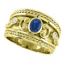 Oval Blue Sapphire & Diamond Byzantine Ring 14k Yellow Gold (0.73ct)