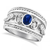 Oval Blue Sapphire & Diamond Byzantine Ring Sterling Silver (0.73ct)