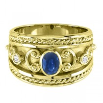 Oval Blue Sapphire & Diamond Byzantine Ring 14k Yellow Gold (0.73ct)|escape