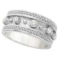 Antique Style Etruscan Diamond Ring in 14k White Gold (0.18 ctw)