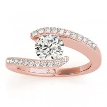 Diamond Accented Tension Set Engagement Ring 14k Rose Gold (0.17ct)