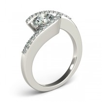 Diamond Accented Tension Set Engagement Ring 14k White Gold (0.17ct)