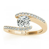 Diamond Accented Tension Set Engagement Ring 18k Yellow Gold (0.17ct)