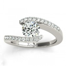 Diamond Accented Tension Set Engagement Ring Palladium (0.17ct)