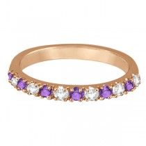 Diamond and Amethyst Ring Guard Stackable Band 14k Rose Gold (0.32ct)