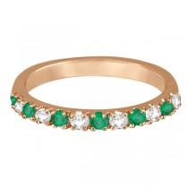 Diamond and Emerald Ring Guard Anniversary Band 14k Rose Gold (0.32ct)