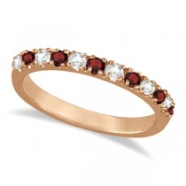 Diamond and Garnet Ring Guard Anniversary Band 14K Rose Gold (0.37ct)