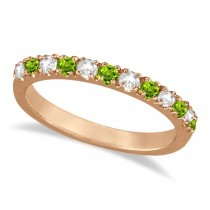 Diamond and Peridot Ring Guard Anniversary Band 14k Rose Gold (0.32ct)