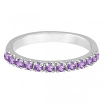 Amethyst Stackable Band Ring Guard in 14k White Gold (0.38ct)