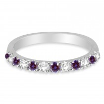 Diamond and Lab Alexandrite Ring Guard Stackable Band 14K White Gold (0.37ct)