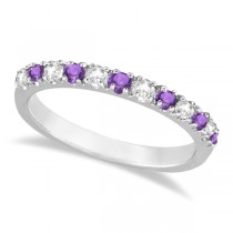 Diamond and Amethyst Ring Guard Stackable Band 14k White Gold (0.32ct)