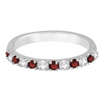 Diamond and Garnet Ring Guard Stackable Band 14K White Gold (0.37ct)